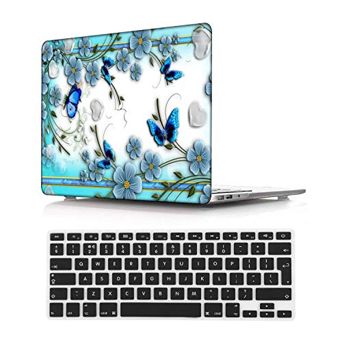 NEWCENT Newest MacBook Air 13' Case,Plastic Ultra Slim Light Hard Case UK Keyboard Cover for Newest MacBook Air 13 inch with Retina Display Touch ID 2018 2020 Release(Model:A1932/A2179),Flower 121