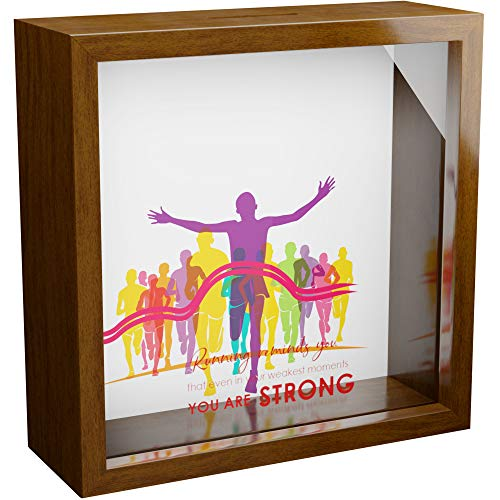 Gifts for Runners Men | 6x6x2 Wooden Shadow Box for The Male Runner | Gift for Female Runner | Marathon Runners Gifts Men | Ideas for Athletes Ideas for Athletes