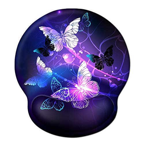Ergonomic Mouse Pad Wrist Rests, Non Slip Mousepads with Gel Cushion Wrist Support, iVeze Comfortable Durable Mouse Pads for Home Office Efficient Working Easy Typing & Pain Relief ( Arts Butterfly )