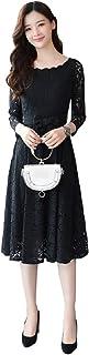 (ロンショップ)R.O.N shop エレガント レース 刺繍 ドレス ウエスト リボン 付き 膝下 オールインワン 上品 白 黒