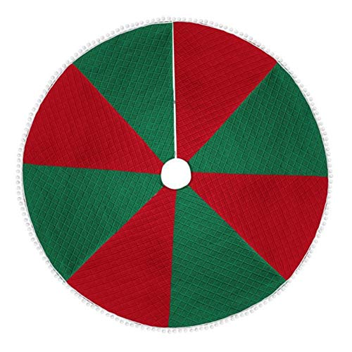 meetgre 48 Inches Christmas Tree Skirt, Red White Green Non-woven Fabric Christmas Tree Rug With Lace, Tree Base Covers Floor Mat For Christmas Party Decorations - Round Tree Decor Apron Professional