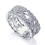 Double Accent Sterling Silver Rhodium Plated, Engagement CZ Set Vintage Style Ring Wedding Band 8mm (Size 5 to 9), 9