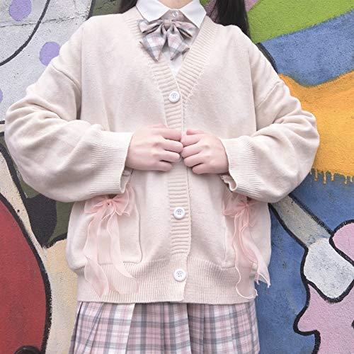 Zzx Japońska Lolita Słodka Dress Harajuku Sailor Collar Granatowy Sukienki Vintage Bow Kawaii Dziewczyny Preppy Style Długi Rękaw (Color : White, Size : Large)