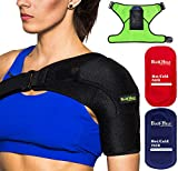 BODY HELP Shoulder Brace Support for Women&Men with 2 Hot Cold Reusable Packs for Pain Relief - Left/Right Shoulder - Fits Most People - Please Check Sizes