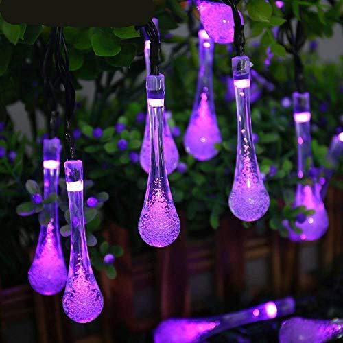 FeiliandaJJ Lichterkette Solar, String Lights 6M 30pc Wasserdicht Outdoor Garden Wassertropfen Licht LED Innen/Außen Hochzeit Party Halloween Weihnachten Haus Deko (Lila)