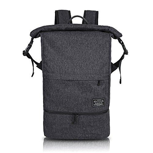 MIRAMAR Rucksack Wasserdichte Sporttasche Roll Top Nasse und Trockene Trennung Training Bag Multifunktional Daypack Outdoor für 15.6 Zoll Laptop und Schuhe für Damen und Herren (Schwarz)