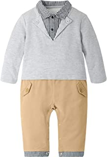 Fairy-Baby Toddler Babys Romper Clothes Boys Fake 3pcs Cotton Contrast Color Jumpsuit Long Sleeve Autumn Snap Pants Babys Daily Outfit Jumpsuit (Color : Gray, Size : 80cm)