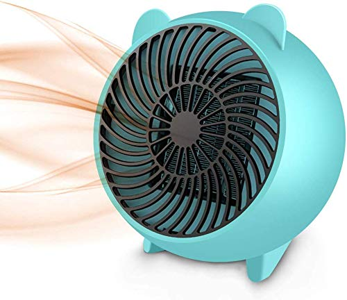 Personal Space Heater Portable Electric Heaters Fan with PTC Heating Element & Overheat Protection for Office Home Room Tabletop Under Desk Floor Indoor Use 500W, Blue Heater Portable Space