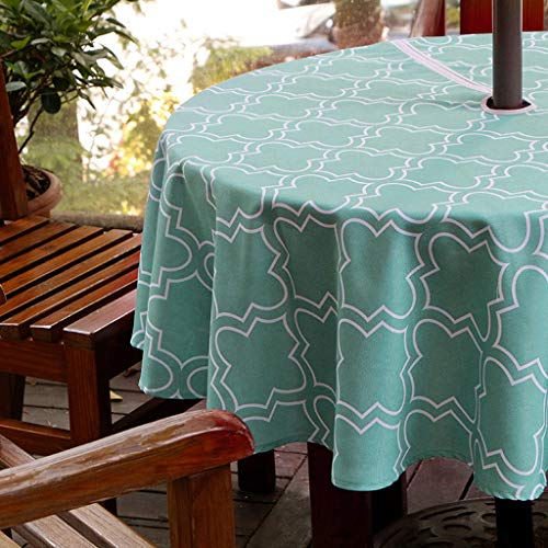 BTSKY 60' Patio Outdoor Umbrella Tablecloth with Zipper and Umbrella Hole, Water and Stain Resistant Round tablecloth (Turquoise)