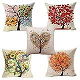 Yangbaga colorido otoño(5pc) flor árbol algodón de lino, throw pillow case, funda de almohada para cojín, 45x45 cm