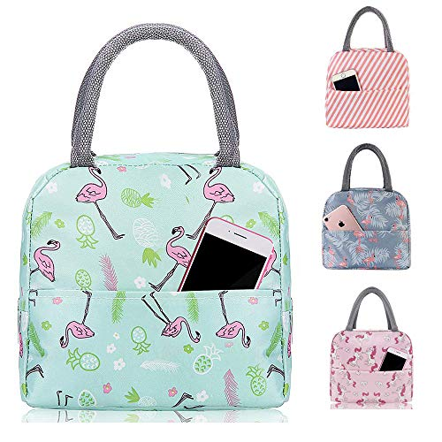 Insulated Lunch Bag Leakproof Wide Open Tote Bag for Women Cooler Bag Lunch Box Container for Girls Children Outdoor Travel Work Picnic School Gren Flamingo