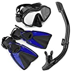 Snorkel Set - Fully Dry Top Snorkel with Silicon Mouth, Impact Resistant Tempered Glass Snorkeling Mask, Adjustable Diving Fins/Flippers for Scuba Swimming, with Quick Dry Gear Bag