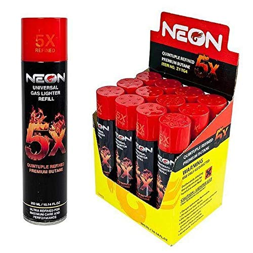 12 cans (1 case) of Neon 300ml 5X Refined Butane Fuel