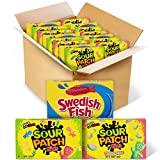 This bulk package contains 15 individually wrapped theater boxes of SOUR PATCH KIDS ORIGINAL Candy, SOUR PATCH KIDS Watermelon Candy, and SWEDISH FISH Candy. Let your imagination (and taste buds) run wild with soft, chewy, and fun SOUR PATCH KIDS can...