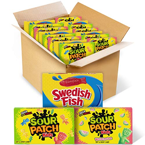 SOUR PATCH KIDS Original Candy, SOUR PATCH KIDS Watermelon Candy & SWEDISH FISH Candy Variety Pack, Easter Candy, 15 Movie Theater Candy Boxes