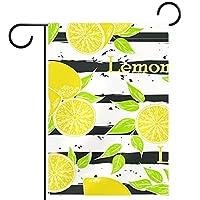 ホームガーデンフラッグ両面春夏庭屋外装飾 12x18inch,フルーツ漫画レモン ストライプ