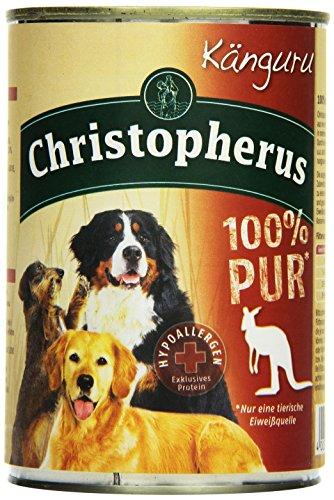 Christopherus Alleinfutter für Hunde, Nassfutter, Känguru, 100 % Pur, 400 g Dose