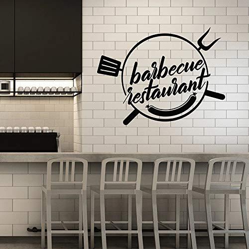 SUPWALS Wandtattoos Vinyl Wandtattoo Barbecue Restaurant Grill Bar Kebab Wurst Esszimmer Innendekor Fenster Aufkleber Kunst Wörter Wandbild 57X74Cm