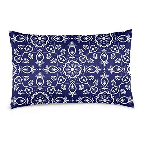 Leisure-Time Fundas de Almohada 20x30, Vector de patrón de Mosaico Italiano con Adornos Azules y Blancos Cortinas de Almohada Decorativas de Granja