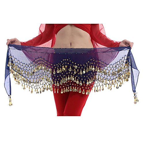 Hee Grand 3 rijen buik dansen dans hip sjaal rok riem met 128 munten Sapphire