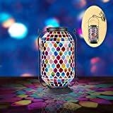 Mosaic Solar Lantern Outdoor Hanging,Solar Table Lamps Outdoor Decorative w/Teardrop Tile Pattern,Metal/Glass Outdoor Lantern for Garden,Patio,Pathway&Yard Decor,Great Gifts,Large Size 11'H(Rainbow)