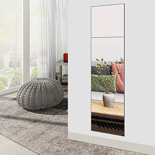 Jiolong Full Length Mirror Tiles - 14 Inch x 4Pcs Frameless Wall Mirror Set Make Up Mirror for Vanity Bedroom, Living Room