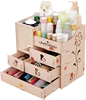 Multifunctional Desktop Storage Box Assembly Wooden Large Capacity Makeup Cosmetic Storage Box with Mirror Multi Drawers D...