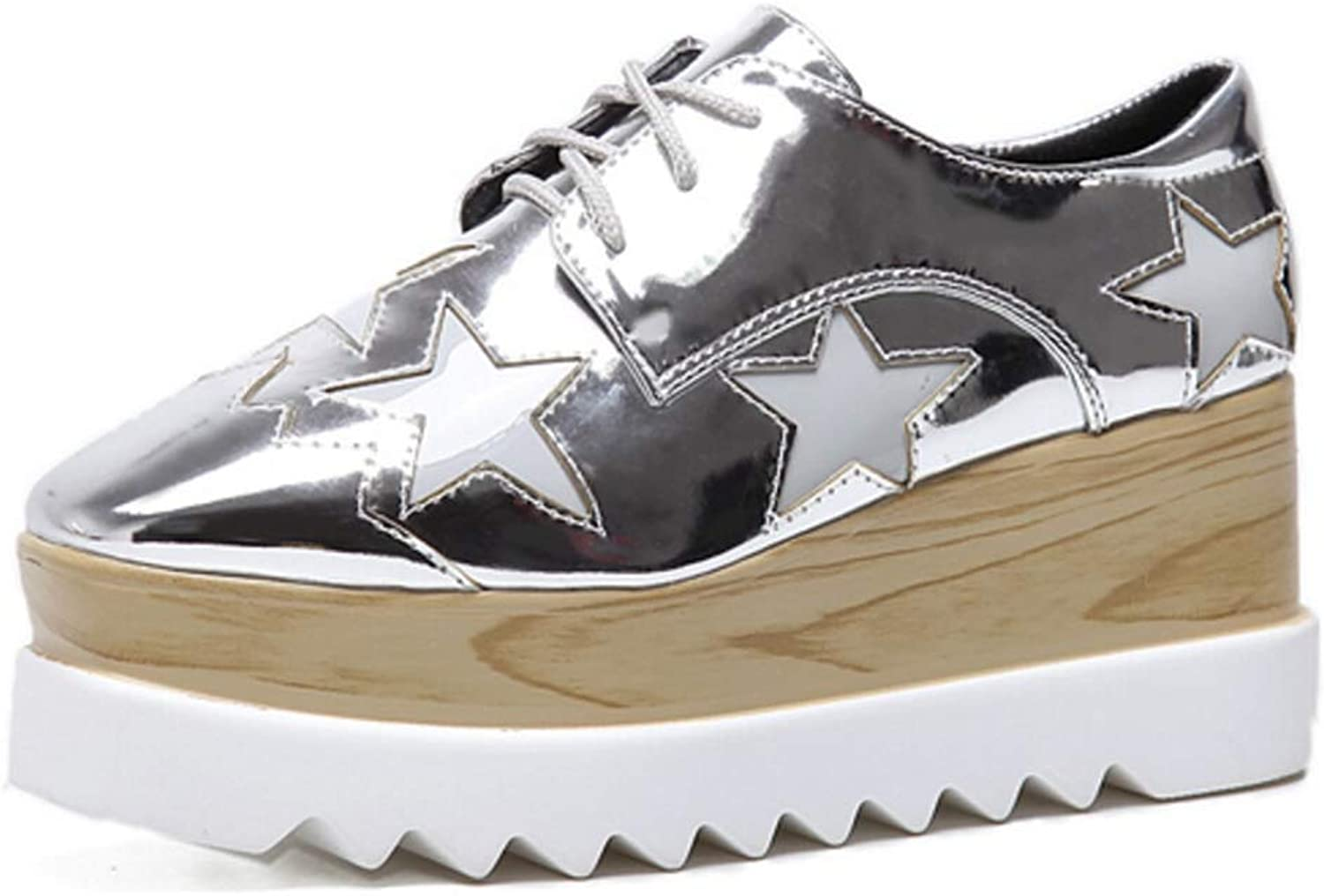 Fullwill Women's Wood Platform Star Oxford shoes Casual Square Toe Lace-up Mid Heel Wedges Creepers