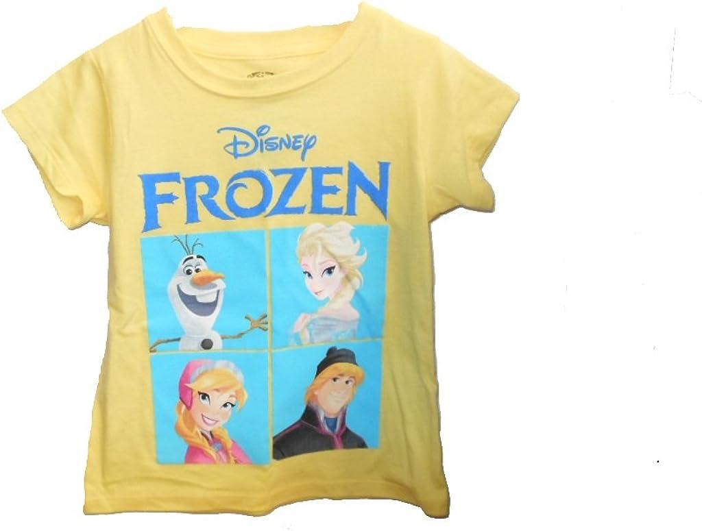 Disney Little Girls' Frozen Short Sleeve Tee (5, Yellow)