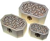 JB15 3 cajas octogonales Cajas nido Cofre del tesoro (3 paquetes) Caja del tesoro de madera Almacenamiento decorativo clásico Artesanías De Madera Caja octágono Cajas de madera Joyero