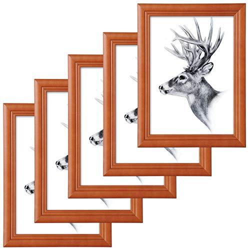 WOLTU 5er Set Bilderrahmen,15x20cm Artos Stil Holzrahmen Fotogalerie Glasscheibe,Braun