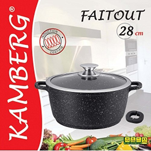 kamberg Stone Look PfoaFree NonStick Saucepan 28cm for All Heat Sources Including Induction
