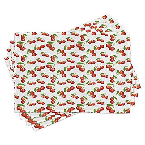 ABAKUHAUS Fruit Lot de Sets de Table en 4 pièces, Motif Cerise Fruit, Tissu Lavable pour Salle à Manger et Cuisine, 30 cm x 45 cm, Blanc Vermilion Vert