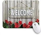 Dekoratives Gaming-Mauspad,Gartenzaun Blumenblumen Rose Holz,Bürocomputer-Mausmatte mit rutschfester Gummibasis