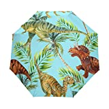 Paraguas de viaje compacto Dinosaur para el aire libre, lluvia, sol, coche, plegable, resistente al viento, toldo reforzado, protección UV, mango ergonómico, apertura y cierre automático
