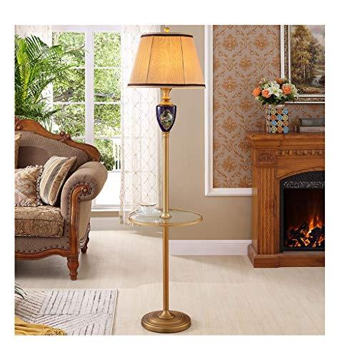 Lámpara de pie LED de estilo nórdico, color rojo, tejido de arriba, lámpara de pie para dormitorio, salón con mesa baja, lámpara de pie (color azul, tamaño: A)