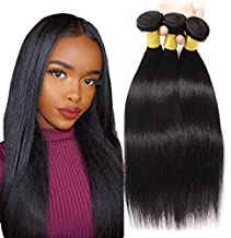 Brazilian Virgin Straight Human Hair 3 Bundles 100% Unprocessed Human Hair double weft Human Hair Weave Natural Black Color (12 14 16)