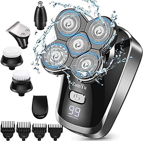 Rasoir Electrique Homme, 6 en 1 Têtes Rotatives Rasoir Barbe USB Rechargeable, 5D Rasoir à Tête Chauve Wet & Dry Avec Affichage LED Etanche Sans fil Rasoir Electrique Barbe