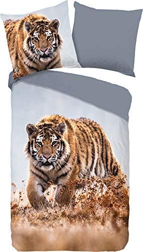 Good Morning! Juego de cama reversible Tiger Renforcé marrón y azul, tamaño 200 x 200 cm (80 x 80 cm)