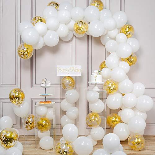 PartyWoo Látex Globos de Cumpleaños 100 Piezas Globos de Helio Globos Boda para Cumpleaños Decoración Fiesta Aniversario Baby Shower Comunión Bodas Navidad Graduación-Blanco y Dorado Confeti