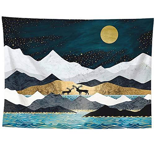 Alip タペストリー壁掛け おしゃれ 北欧壁飾り 山脈と日の出風景 和風インテリアウォールデコレーション 壁紙 取り外し可能布ポスター 多機能 新居模様替え(180*230cm,FGT6013)
