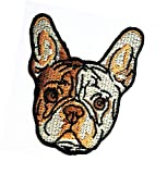 Head Dog Boston Terrier Stickers Dog Animal Patch Cartoon American English French Bulldog Pitbull Pug Puppy Pet Dog Patches Iron On Sewing Embroidered Patches Badge Applique for Clothes (08)
