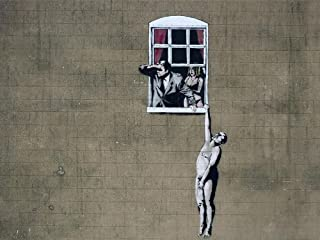 Window Lovers By Banksy Reproduction on Gallery Wrapped Canvas, banksy canvas - 12h x 19w