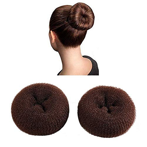 CLOTHOBEAUTY 2 pieces Large Size Hair Bun Donut Maker, Ring Style Bun, Women Chignon Hair Donut Buns Maker,Hair Doughnut Shaper Hair Bun maker (3.5 inches, Brown)
