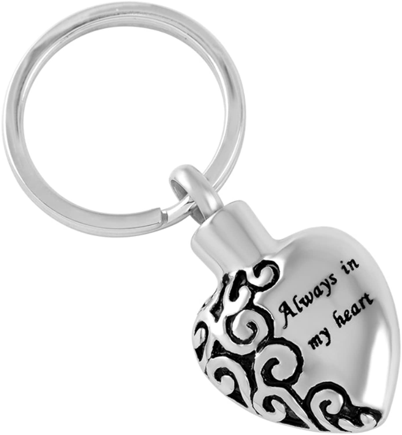 "(Pack of 6 )""Always in my Heart"" Cremation Urn Key Chain Memorial Rings Shape Ashes Keepsake +Free fill kit"