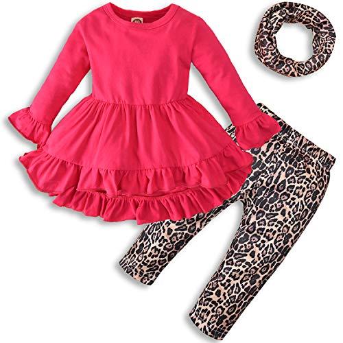 Vestido de túnica de manga larga para niñas pequeñas+Leggins con estampado de leopardo+Bufanda - rojo - 12 -18 meses