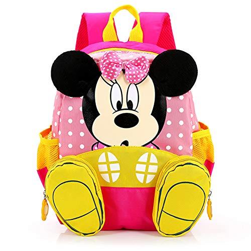 CYSJ Zainetto 3D per bambini,Zaino Scuola Elementare,Borsa da scuola per bambini Zainetto Con Bowknot Mickey Minnie Scuola Materna Elementare Media Asilo Nido, Idea Regalo Compleanno Bambino