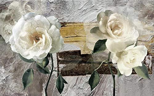 Fotomurales 3D 350x245 cm Pintura Al Óleo Vintage Flor Blanca Gardenia Papel pintado no tejido Decoración de Pared decorativos Murales