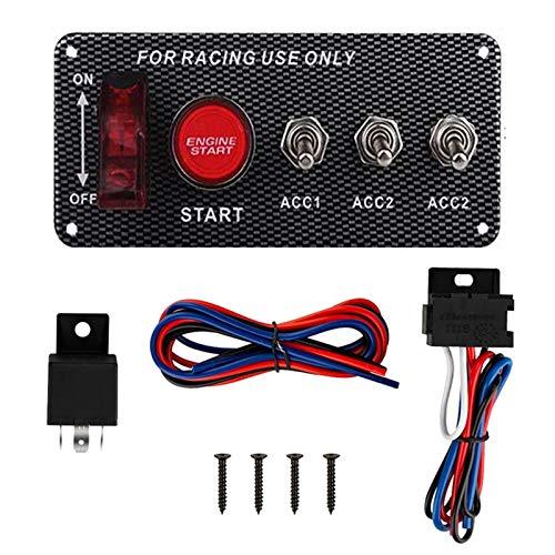 FORETTY Niyao08 Panel de Interruptor de Encendido 12V LED para Carreras de automóvil Motor de Motor Push Botón de Empuje LED Interruptor de Palanca Fibra de Carbono QT313 Durable