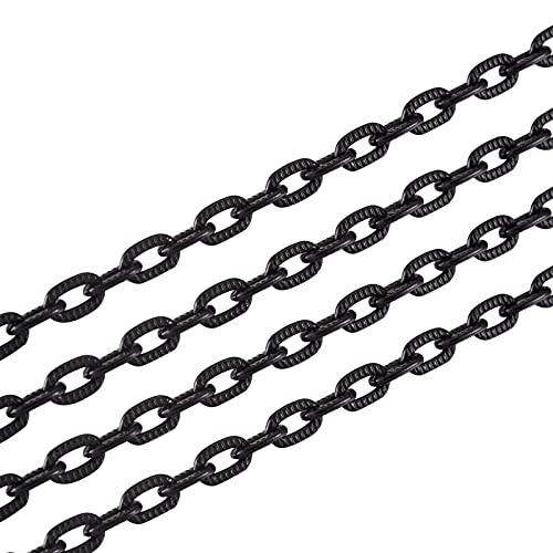Cheriswelry Cadena de cable de aluminio de 16,4 pies, color negro, 8 x 5 mm, sin soldar, cruz abierta, alambre ovalado, para hombres y mujeres, joyas, pantalones